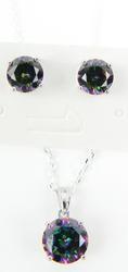 Vibrant Sterling Mystic Topaz Necklace & Earrings