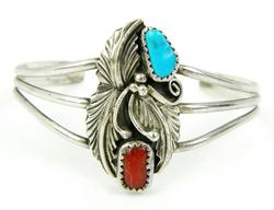 Signed N.A. Indian Sterling Turquoise & Coral Cuff