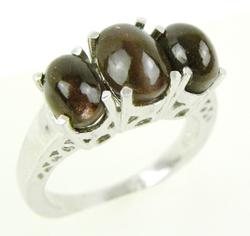 Sterling Silver Ring with 3 Brown Cabochons, 6.5