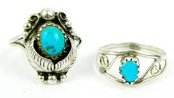 2 Vintage Sterling Silver Turquoise Rings