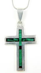 Large Sterling Malachite Cross & Long Chain