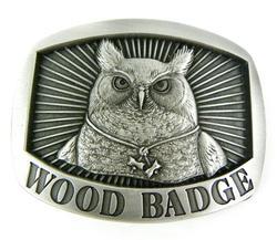 Pewter Owl Wood Badge Belt Buckle