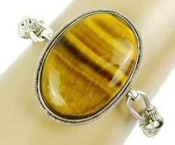 Huge Tiger Eye Sterling Silver Bracelet