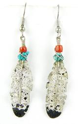 Signed Navajo Sterling Feather Earrings