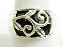 Wide Sterling Silver Black Onyx Ring, Size 9