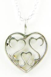 Sterling Open Heart Pendant & Chain