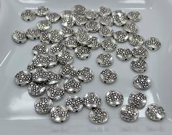 Silver Tone Pewter Coin Spacer Beads, 126 Ct 12 X 3 mm