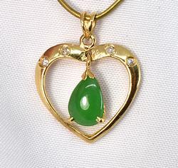Lovely Heart Pendant with Jade & Diamonds in 18K