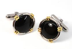 Handsome Onyx Cufflinks in White and Yellow Gold