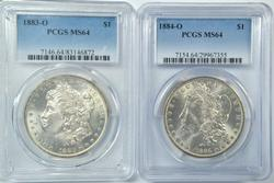 Near Gem BU 1883-O & 1884-O Morgan Dollars. PCGS MS64