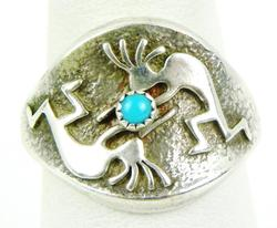 Signed Sterling Turquoise Kokopelli Ring, 8.5