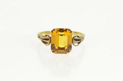 10K Yellow Gold Emerald Syn. Citrine Ornate Retro Cocktail Ring
