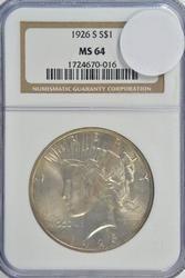 Nearly Gem BU 1926-S Peace Silver Dollar. NGC MS64