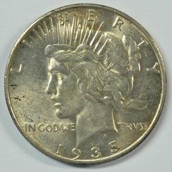 Great-looking 1935-S Peace Silver Dollar. Near Mint
