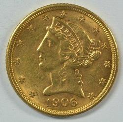 BU 1906-D US $5 Liberty Gold Piece. Nice