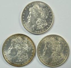 3 Diff. flashy Choice BU 'O' Mint Morgan Silver Dollars