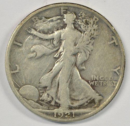 Rare key date 1921-S Walking Liberty Half in F/VF