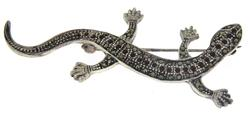 Marcasite and Red Gemstone Lizard Brooch