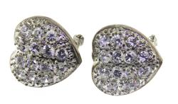 Sterling Silver CZ Heart Shaped Earrings