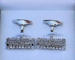 Handsome Pair Jeweled Style Cufflinks By Carelli