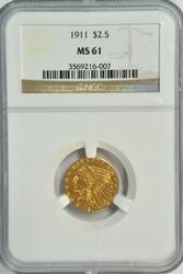 Lovely Choice BU 1911 US $2.50 Indian Gold. NGC MS61