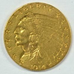 Scarcer 1914-D US $2.50 Indian Gold Piece