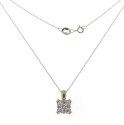 Gorgeous White Gold Diamond Square Cluster Necklace
