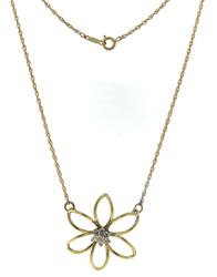 Glowing Diamond Cluster Flower Yellow Gold Necklace