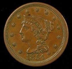 Virtual Gem Unc 1854 Braided Hair Large Cent (N-6)