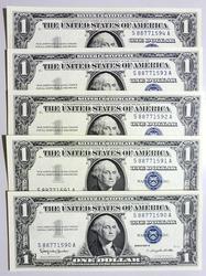 (5) Gem Crisp 1957 $1 Silver Certificates Consecutive Serial Numbers!