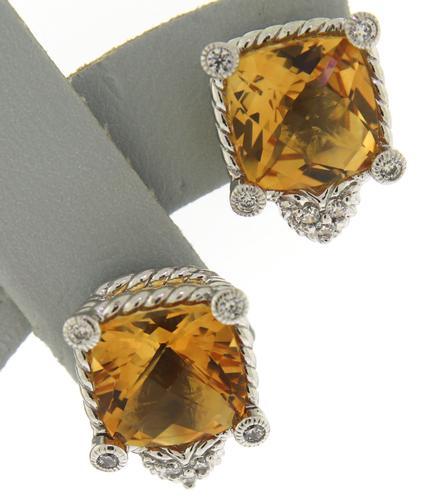 Designer Judith Ripka Amber and CZ Earrings