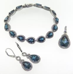 Set of Blue & White CZ Bracelet, Earrings and Pendant