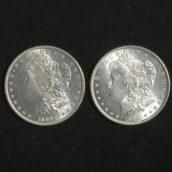 1885  And 1889 Frosty White BU Morgans