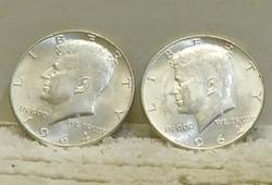 2 ea 1964 Kennedy Halves, Silver, almost Uncirculated