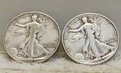 2 each  Walking Liberty Half Dollars, Sil 90% circulate