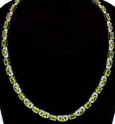 Awesome Peridot & White Topaz Necklace in Vermeil
