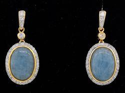 Gorgeous Aquamarine & Diamond Earrings in Sterling Silver