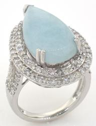 Immense 8.23CT Aquamarine & Diamond Ring in Sterling Silver
