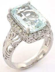 Majestic Aquamarine & Diamond Ring in Sterling Silver