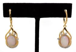 Regal Opal & Diamond Earrings in Vermeil