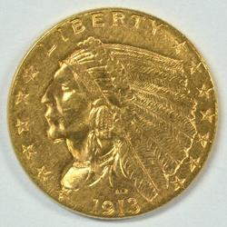 Flashy 1913 US $2.50 Indian Gold Piece. Nice