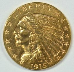 Lovely 1915 US $2.50 Indian Gold Piece. Nice
