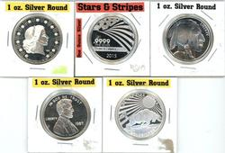 5 Diff. One Troy Ounce pure  .999 Silver Rounds