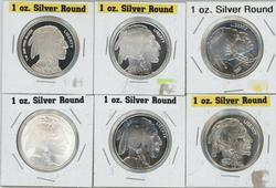 6 Diff. One Troy Ounce pure  .999 Silver Buffalo Rounds