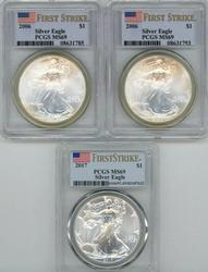2 2006  & 2017 $1 Silver Eagles. PCGS MS69 First Strike