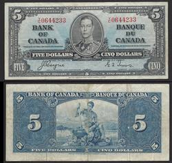 $5 1937 Blue under print Bank of Canada