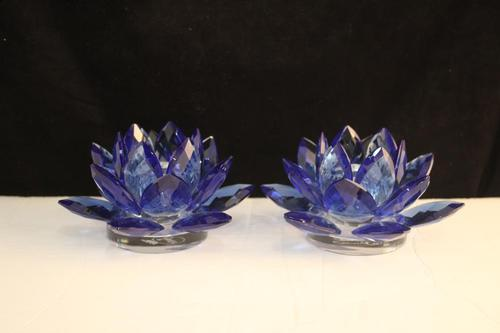 Pair Blue Lotus Candleholder