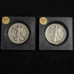 1921 P &S Walking Liberty Halves