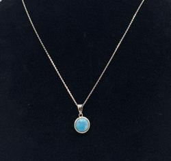 Elegant Sterling Silver Larimar Necklace Pendant