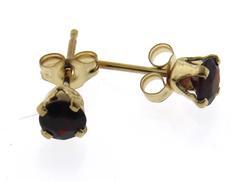 Fancy Yellow Gold 4mm Garnet Stud Earrings